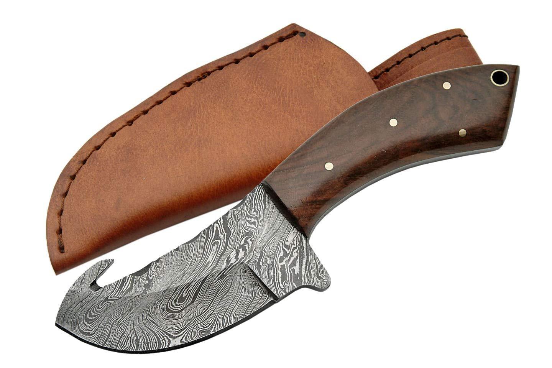 SZCO Supplies Walnut Handle Damascus Guthook Knife
