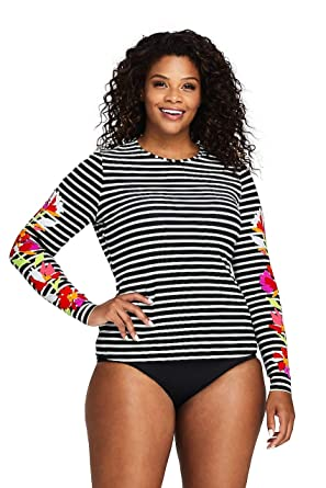 6043c7eec Lands' End Women's Plus Size Long Sleeve Swim Tee Rash Guard Print at  Amazon Women's Clothing store: