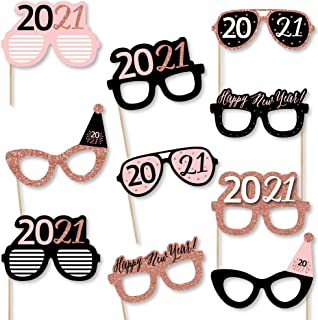 product image for Big Dot of Happiness Rose Gold Happy New Year Glasses - Paper Card Stock 2021 New Year's Eve Party Photo Booth Props Kit - 10 Count