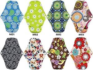 Wellwear Bamboo Reusable Sanitary Pads / Panty Liners/ Menstrual Pads / Sanitary Napkins (8 Pack)