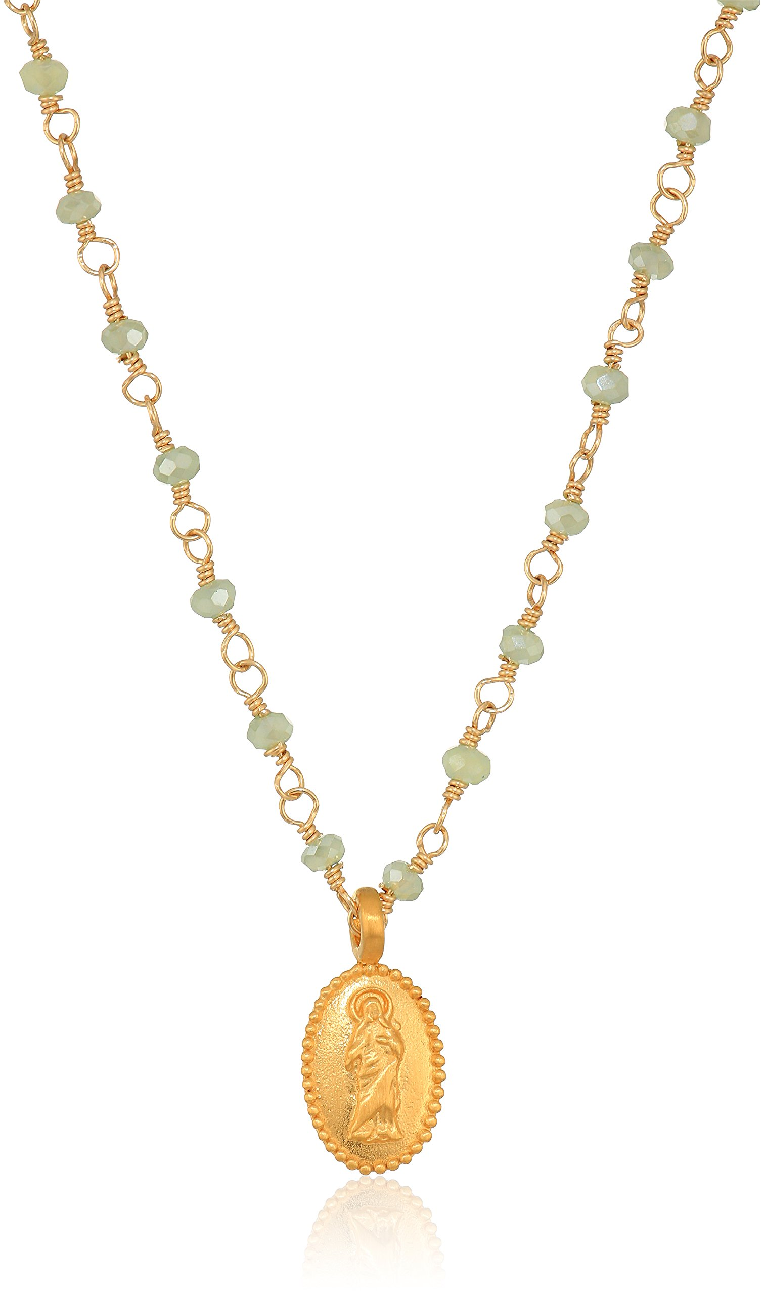 Satya Jewelry Mystic Green Quartz Gold Mother Mary Wrapped Chain Necklace, 18''