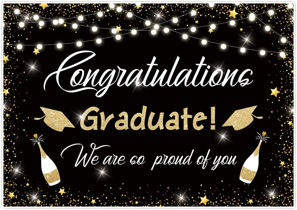 DASHAN 8x12ft 2020 Class Graduation Party Backdrop Black and Gold Bachelor Cap Grad Congratulation Graduates Photography Background Grad Congratulate Party Banner Gold Bokeh Photo Props