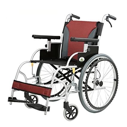 HN wheelchair Silla de Ruedas – Carrito de aleación de Aluminio portátil para Personas Mayores,