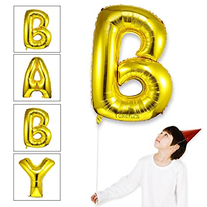 takefuns baby shower balloons large mylar foil helium letter balloons 40 inch gold balloons for birthday