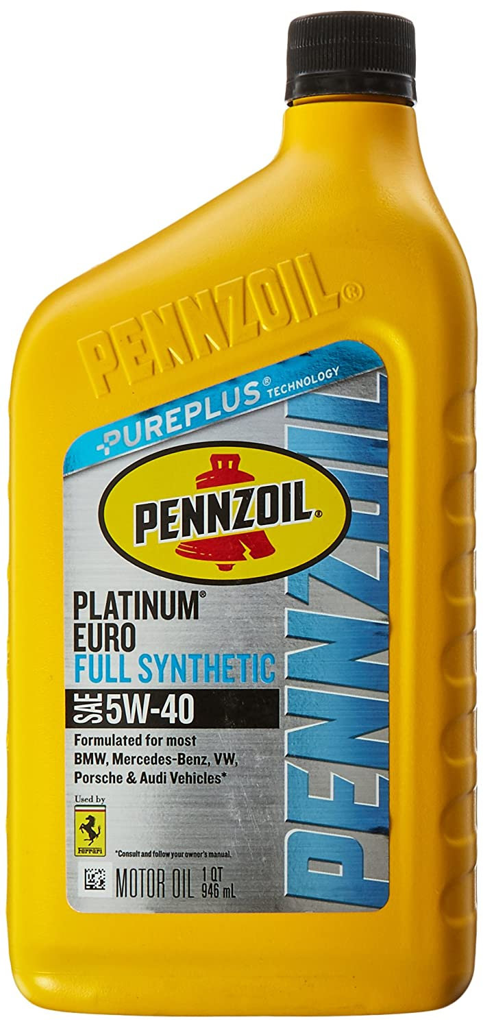 Pennzoil Platinum Euro SAE Full Synthetic Motor Oil 5W-40, 1 Quart - Pack of 6