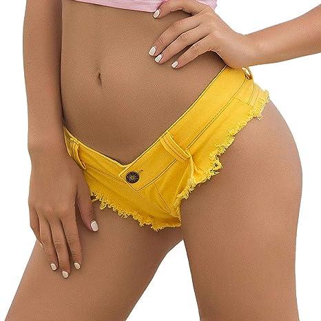 X-xyA Mujeres Sexy Baja Subida Mini Pantalones Cortos Denim ...