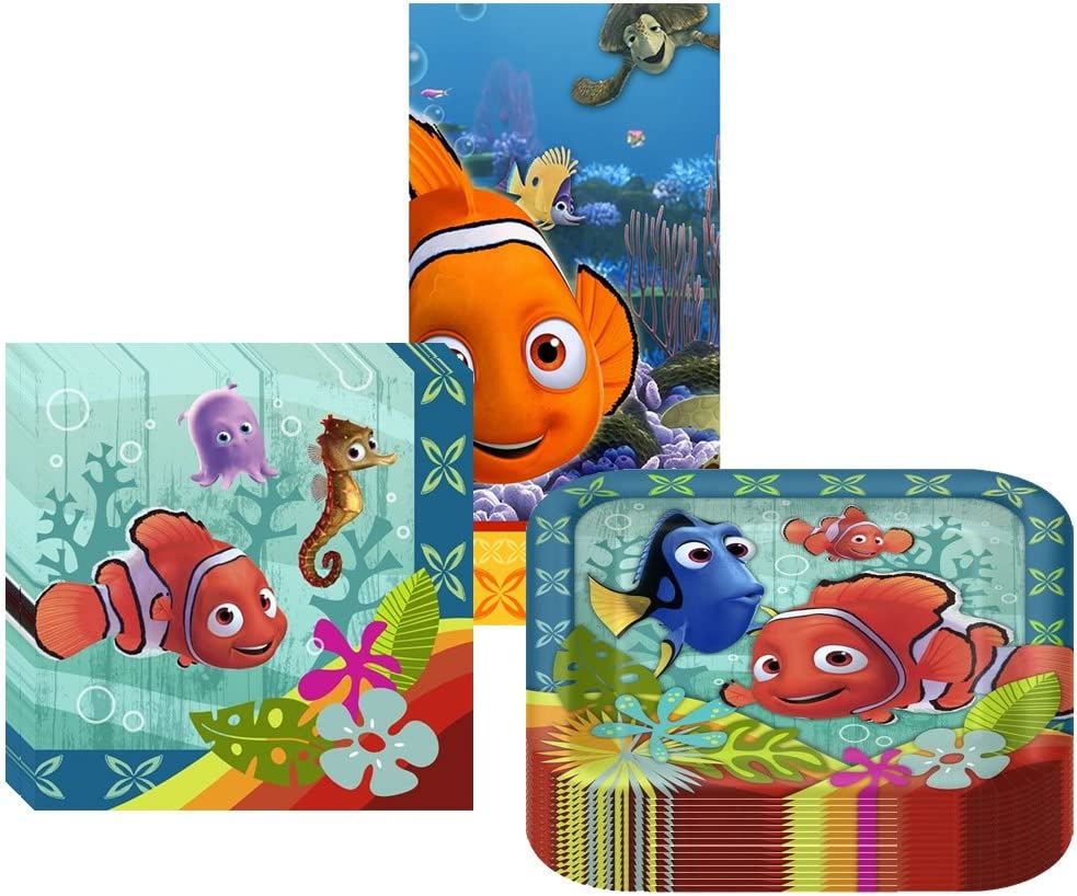 B00BGDV8YM Disney/Pixar Finding Nemo Coral Reef Party Suppiles Pack Including Plates, Napkins and Tablecover - 16 Guests 71QcQd58DGL.SL1014_