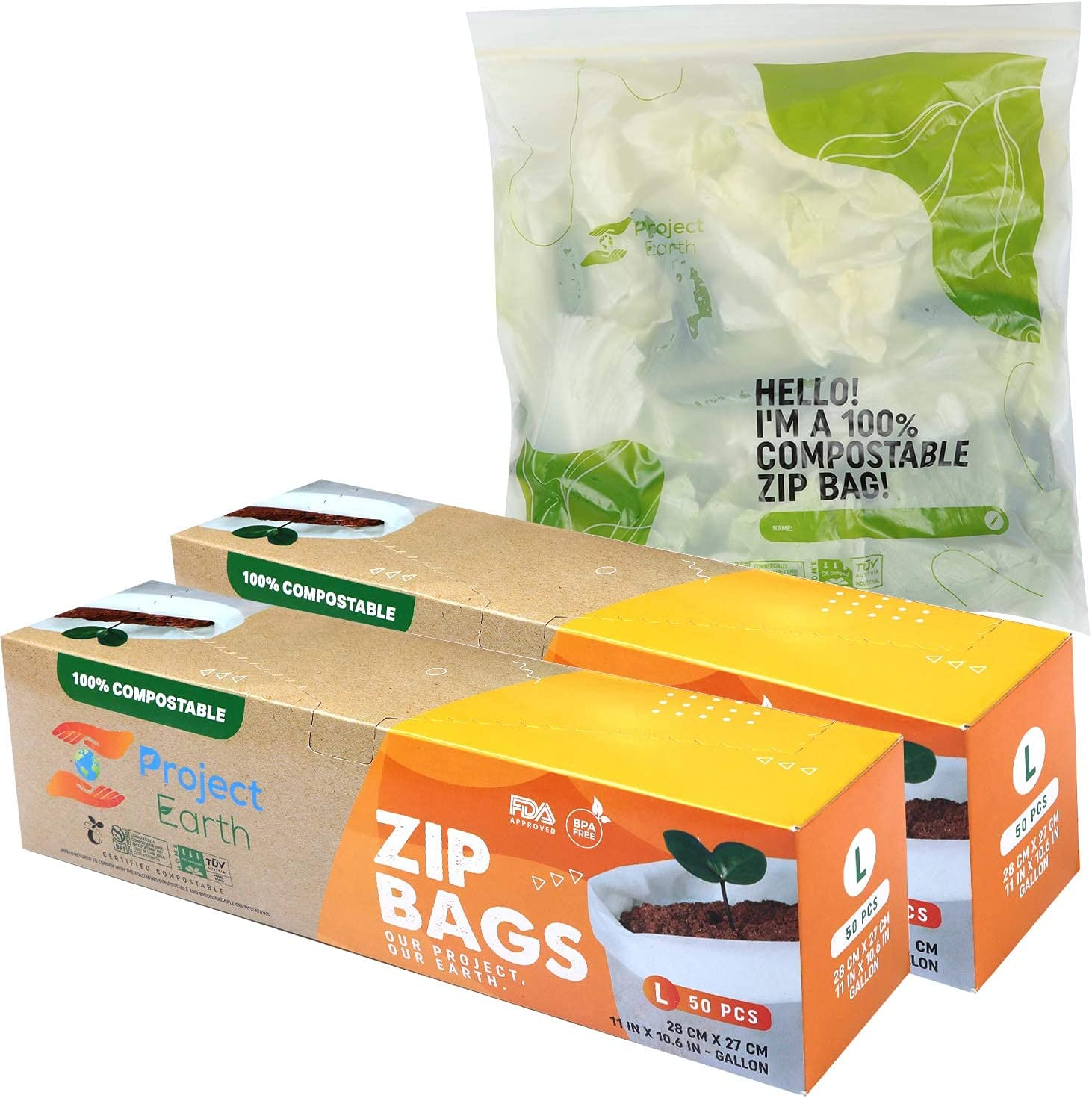 Project Earth Compostable Zip Bags, 100 Count Gallon, 2 Pack | Freezer, Sandwich, Food Storage & More | Resealable Lock | Eco Responsible Product |