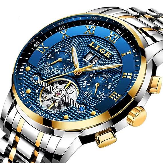 ZZRH Relojes para Hombre Marca de fábrica de Lujo Automático Reloj mecánico Hombres Reloj de Acero