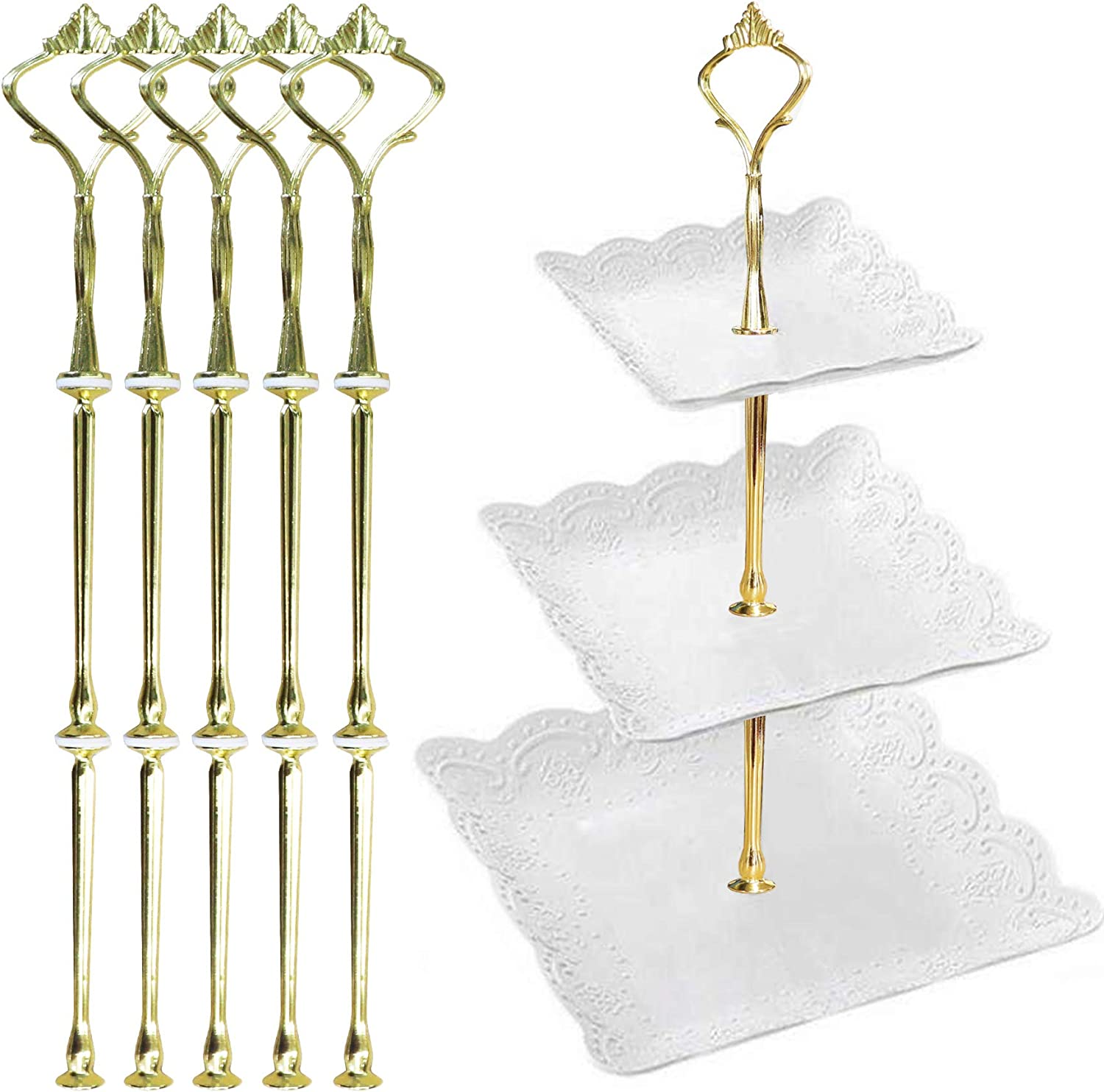 Happy Will 5 Sets 3 Tier Crown Cake Stand Fruit Cake Plate Handle Fitting Hardware Rod Stand Holder with Stylus Silver Plates Not Include