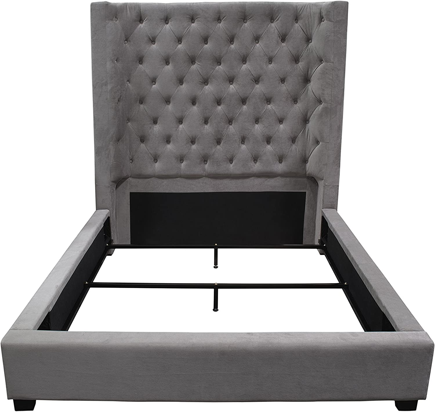 Best Master Furniture Jamie Upholstered Tower Contemporary Bed, King, Grey