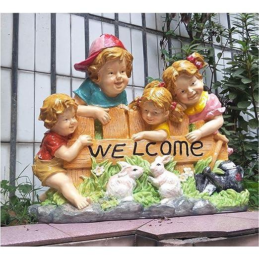 HGWDE Estilo Europeo Signos de Bienvenida Estatuas de Resina ...