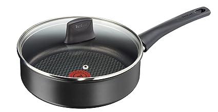 4ae3999de5b Tefal C6963232 Chef Delight Sauté Pan and Lid, Black, 24 cm: Amazon ...