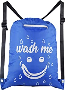 Active US Gear Laundry Bag with Shoulder Straps and Front Pocket, Large Travel Storage for Dirty Laundry, Heavy Duty Nylon Taffeta Waterproof College Laundry Hamper (Deep Blue)