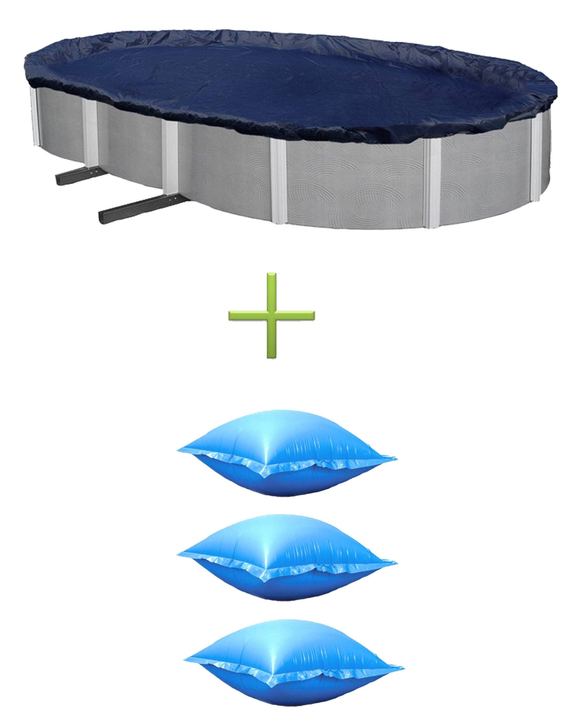 Swimline 18x34 Silver/Black Oval Above Ground Pool Cover + 3) Winter Air Pillows