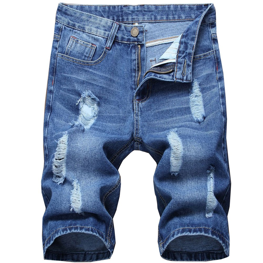Shunht Mens Juniors Ripped Hole Denim Shorts Distressed Basic Fit Jeans Casual Shorts