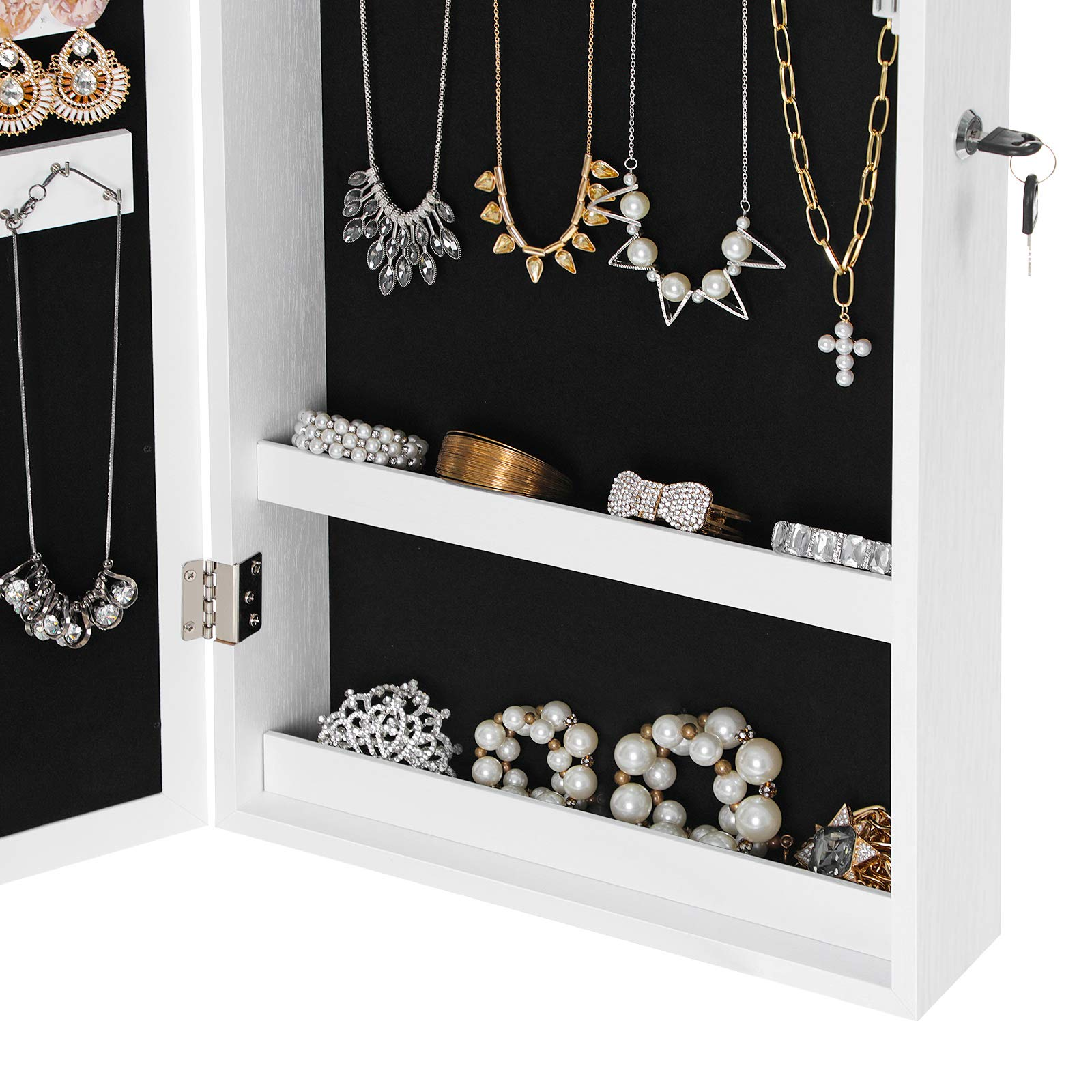 SONGMICS Lockable Jewelry Cabinet Armoire with Mirror, Wall-Mounted Space Saving Jewelry Storage Organizer White UJJC51WT by SONGMICS (Image #6)