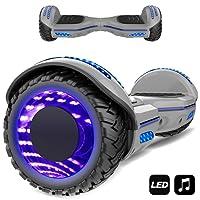 Markboard gyropode 6.5 Pouces Bluetooth MS6, Gyropode avec Pneu à LED de Couleur, Smart Scooter Électrique Auto-équilibrage EL-ES01(Gris)