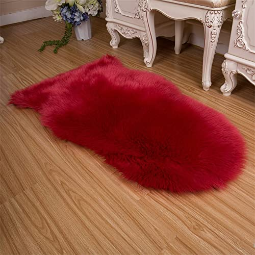 FOLWEP Faux Sheepskin Rug- Soft Area Rug With Thick Pile And Non Skid Back -Good For Living room Bed room Stylish Home Decor Sofa Floor Across Your Arm Chair,Burgundy, 6.6ft x 6.6ft