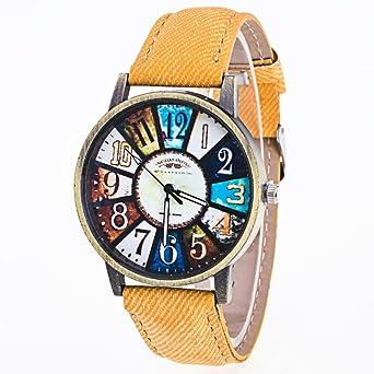 8cf5a15893f492 Amazon | Tonsee 女性用 腕時計 レトロ パターン レザーバンド アナログ表示 おしゃれ ウォッチ (イエロー) | レディース腕時計  | 腕時計 通販