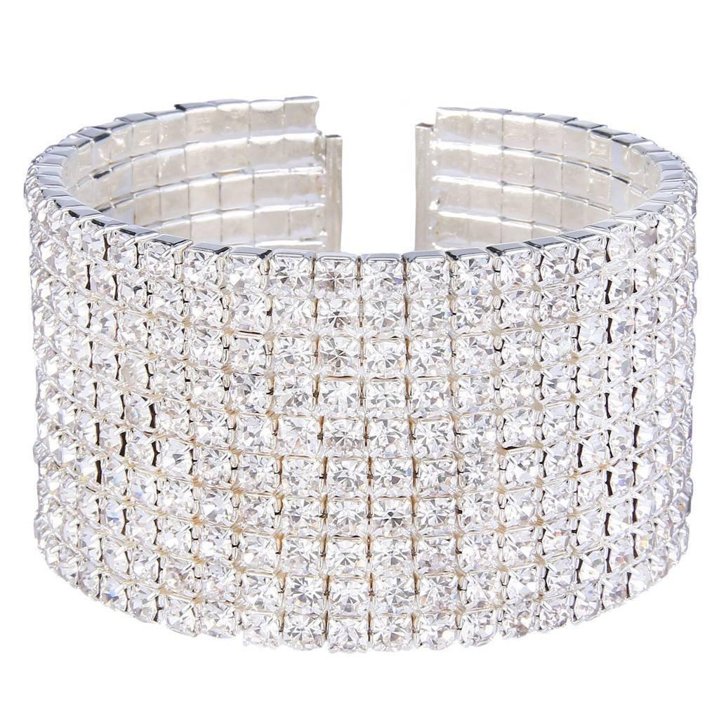 EleQueen Women's Silver-tone 10-row Austian Crystal Open End Wide Elegant Party Cuff Bangle Bracelet Clear