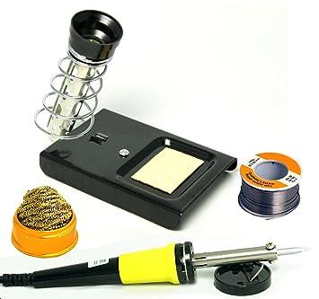 Set de soldador con soldador, kötko lben de soporte, estaño y limpieza de soldadura: Amazon.es: Electrónica