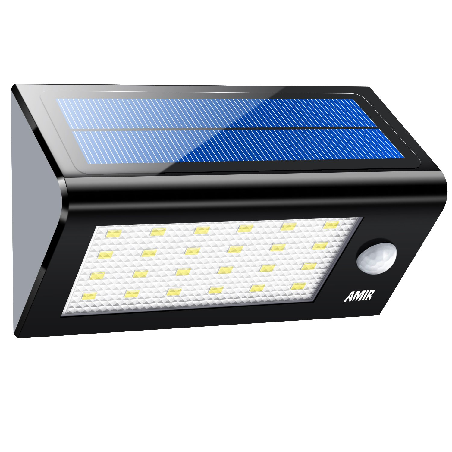 AMIR Solar Lights Outdoor, 24 LED Motion Sensor Wall Lights, 4 Modes Wireless Garden Security Light, Waterproof Solar Step Light for Patio, Deck, Yard, Garden, Garage, Driveway, Pathway, Stairs, Pool by AMIR
