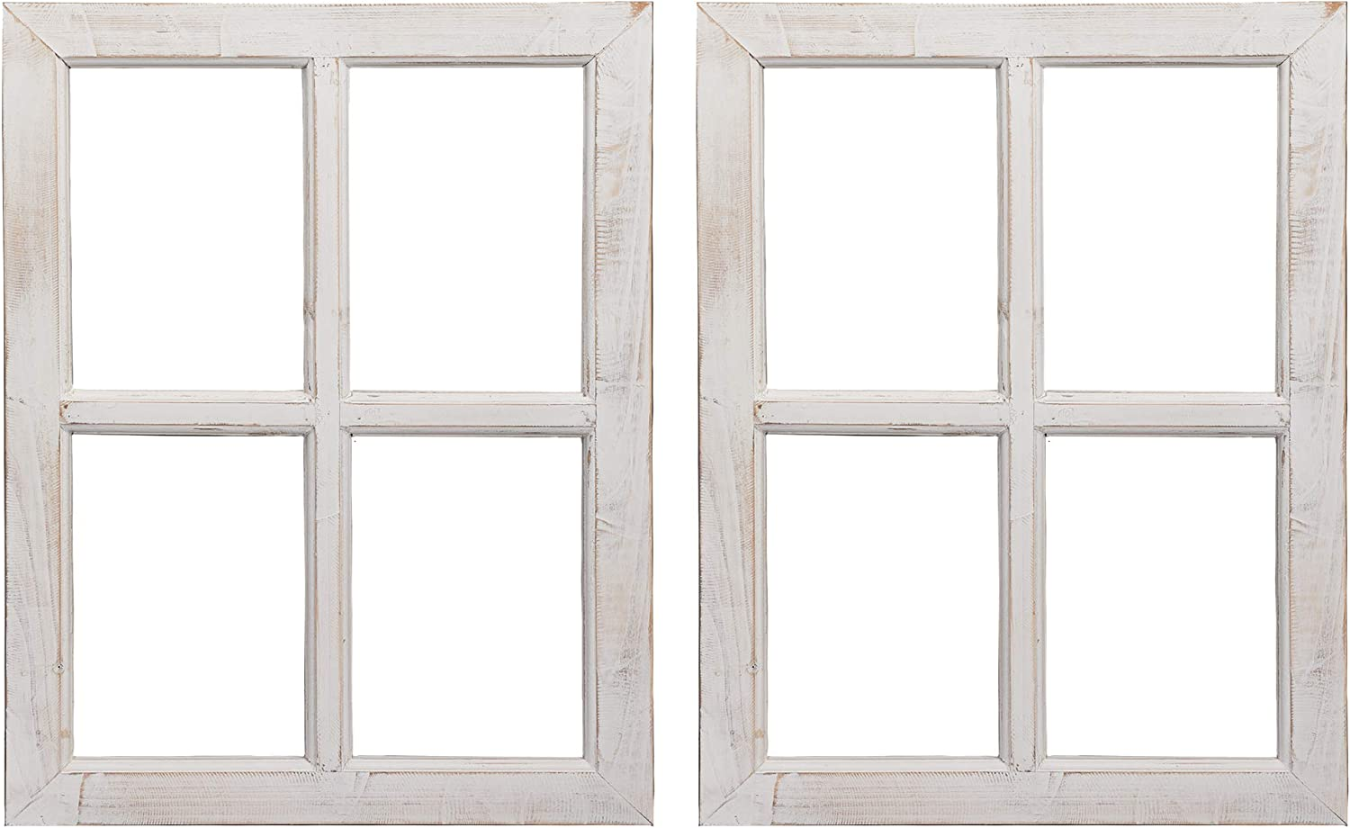 "Barnyard Designs Rustic White Barn Wood Window Frames, Decorative Country Farmhouse Home Wall Decor, Wooden Window Pane for Living Room, Bedroom, or Fireplace Mantel, 18"" x 24"", (2 Pack)"