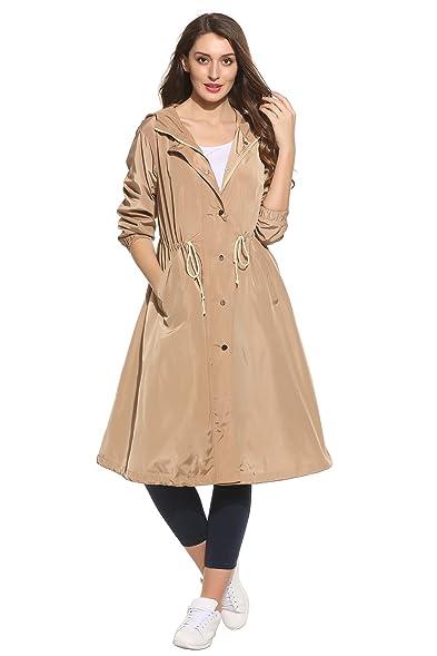 Amazon.com: Fanala Long Lightweight Mac Trench Coat Women Hooded ...