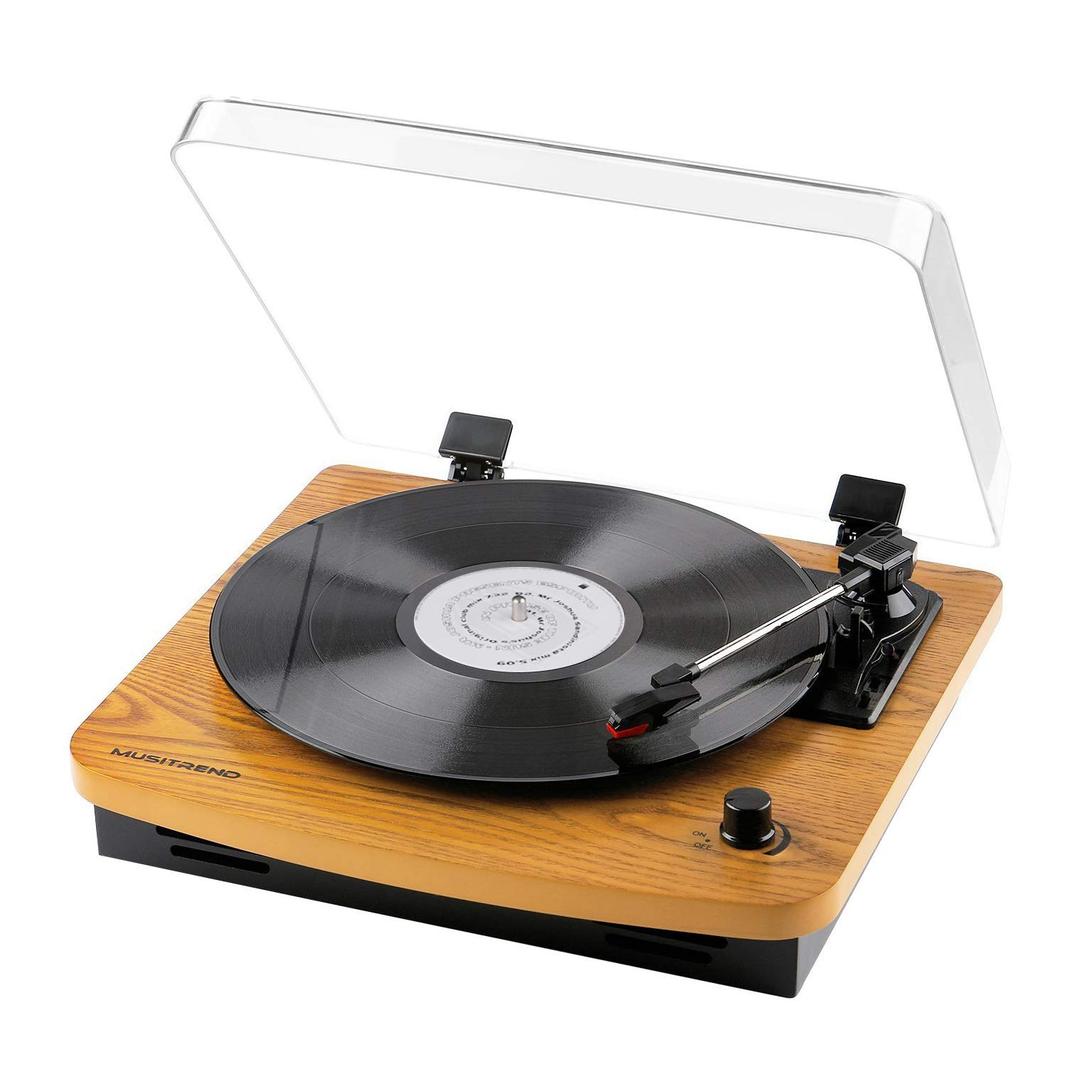 Musitrend Record Player 3-Speed Belt-Drive Turntable with Built-in Stereo Speakers, Vintage Style Record Player Support Vinyl-to-MP3 Recording, AUX RCA Headphone Jack (Wood)