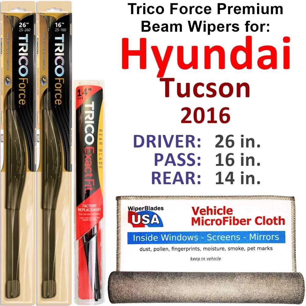 Premium Beam Wiper Blades for 2016 Hyundai Tucson Driver/Passenger/Rear Trico Force Beam Blades Wipers Set Bundled with MicroFiber Interior Car Cloth by WiperBladesUSA