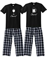 Footsteps Clothing Cheers! Beer and Wine Couples Pajamas; His and Hers PJS Each Set Sold Separately