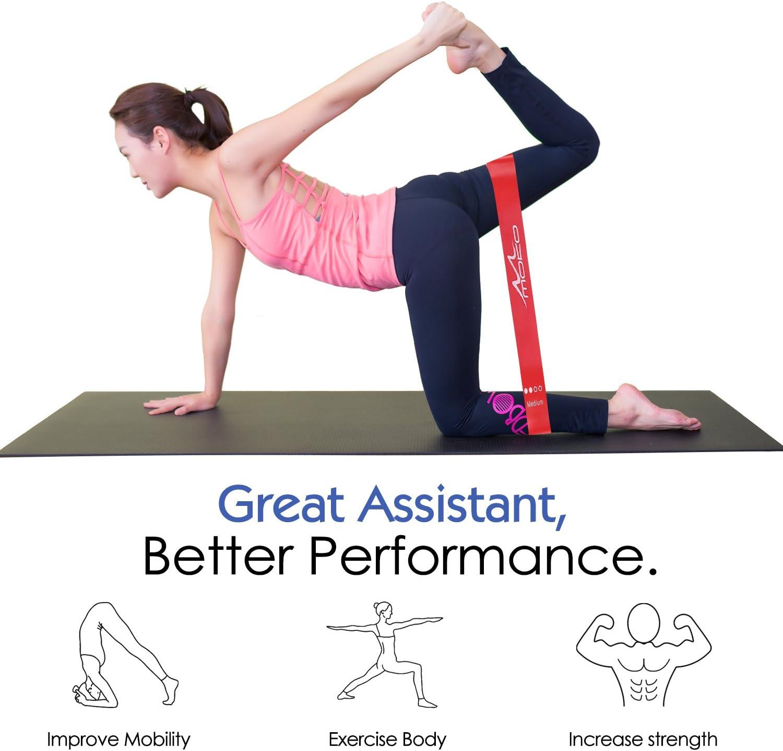MoKo Bandes /élastiques Lot de 4 Parfait pour Stretching Physioth/érapie,Fitness Yoga- Rouge Bande dAssistance Pull-Up 12 Exercice Fonctionnant Bande de R/ésistance Extensible,Ensemble de 5