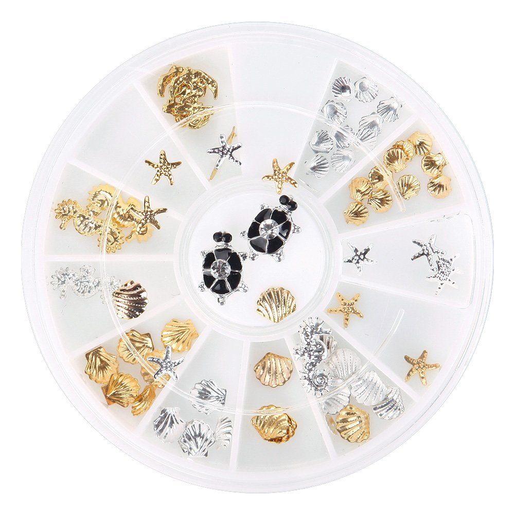JIEPING 3D Nail Art Decoration Box Glitter Beach Style Ocean Life Shell Starfish Nail Art Tool Wheel Box