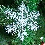 Yunt Lot de 30 pcs Flocons de Neige Ornement Suspendu pour Décoration de Noël