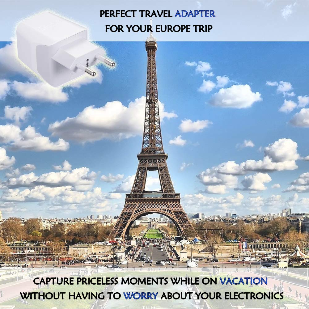 Europe Chargers USA Input European 2 Pack Light Weight Cameras and More Type C Perfect for Cell Phones Egypt Travel Adapter Plug by Ceptics with Dual USB