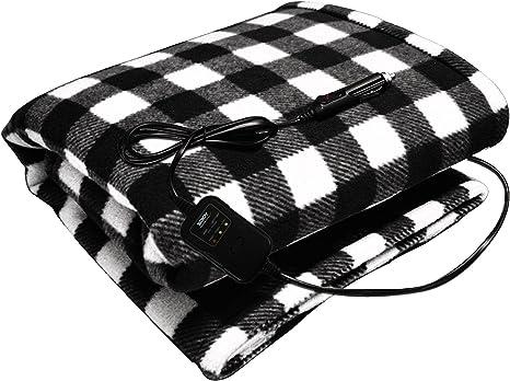 Zento Deals 12v Electric Blanket Red Plaid Premium Quality Blanket