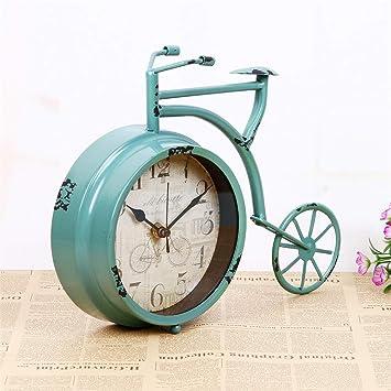Reloj despertador digital Reloj de mesa para el dormitorio, reloj de bicicleta de un solo lado pintado vintage, reloj silencioso bicicleta rueda grande ...