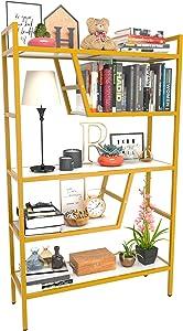 Teraves 5-Tier Adjustable Bookshelf Wood Bookcase with Metal Frame Book Shelf Organizer for Living Room/Bedroom/Study Room,46 Variants