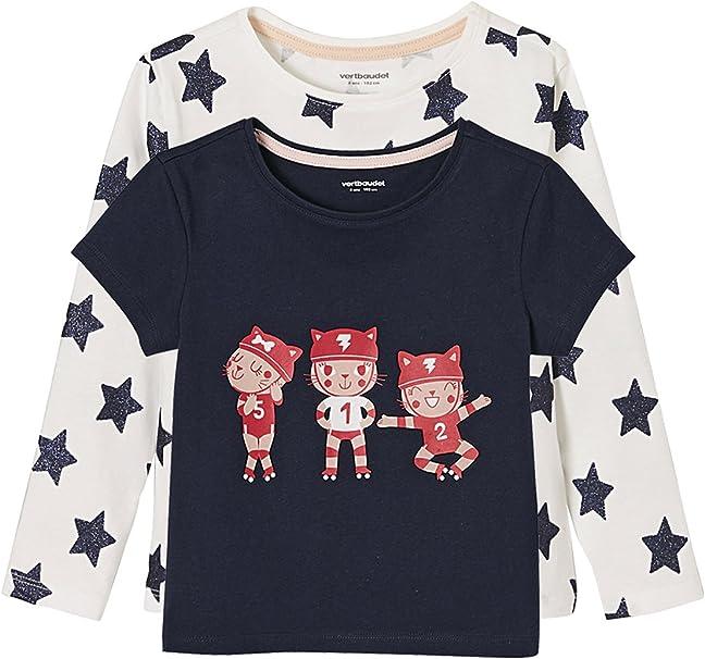 VERTBAUDET Lote de 2 Camisetas para niña Estampadas 100% algodón ...