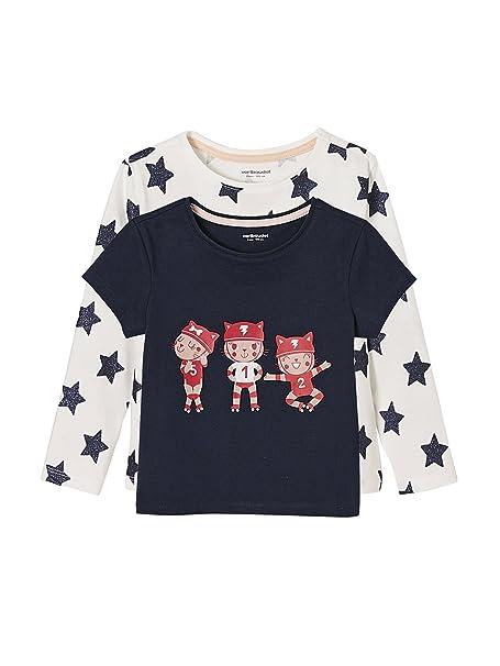 VERTBAUDET Lote de 2 Camisetas para niña Estampadas 100% algodón.: Amazon.es: Ropa y accesorios