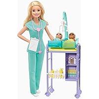 Barbie GKH23 - Barbie-barnläkare, lekset med blond docka, 2 babydockor, leksaker