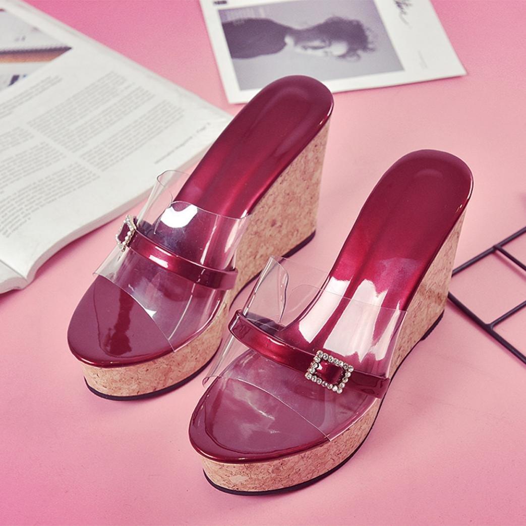 YUYOUG Les Femmes /Ét/é Pantoufle Transparente Hauteur Augmentant la Plate-Forme de Sandales de Sandales de Chaussures