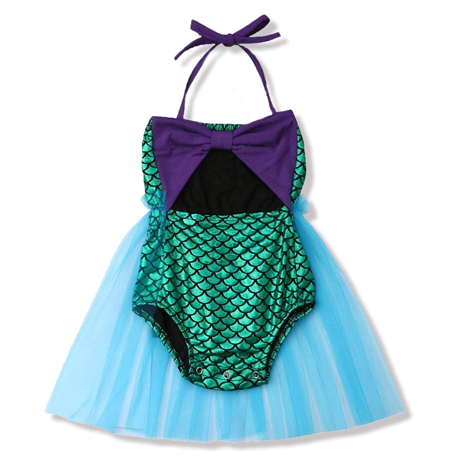 MILWAY Infant Baby Girls Mermaid Romper Summer Outfits Set 1pc Lace Halter Ruffle Tutu Skirt Jumpsuit Swimsuit