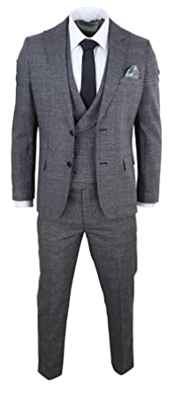 HARRY BROWN Mens Blue Check Double Breasted Suit Gatsby Mafia Peaky Blinders Vintage Classic 1920s