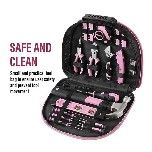 Amazon.com: WORKPRO Juego de herramientas rosa para damas ...