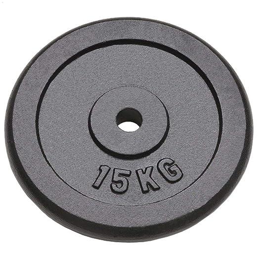 Tidyard Discos de Pesas Hierro Fundido de Gimnasia Casera Equipo 2 x 15 kg Negro: Amazon.es: Hogar
