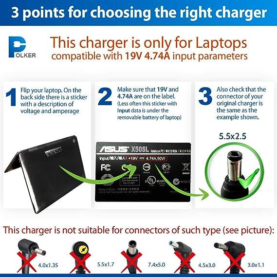 Cable cargador para Asus y Toshiba portátil 4.74a 5.5x2.5 19v 90w - cargador Toshiba | Cargador Asus | 2 años de garantía