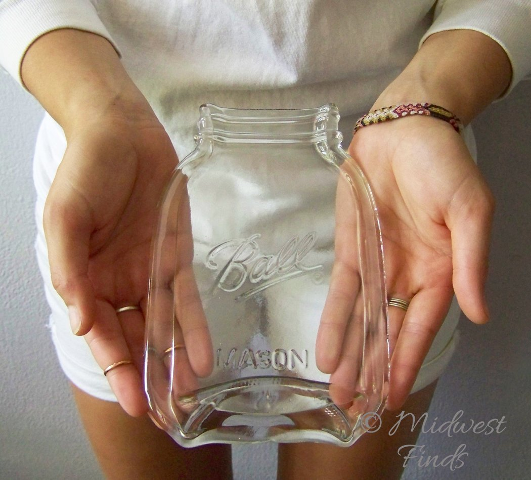 Clear Quart Melted Mason jar spoon rest, plate, serving dish, gift box included