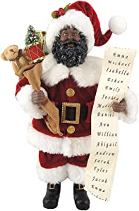 "Santa's Workshop 5617 African American Santa with His List Figurine, 12"", Multi"